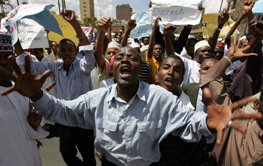 Kenyan Muslims chant slogans during a demonstration in the capital Nairobi