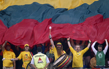 Lithuania's fans shout slogans during the European basketball championship in Belgrade