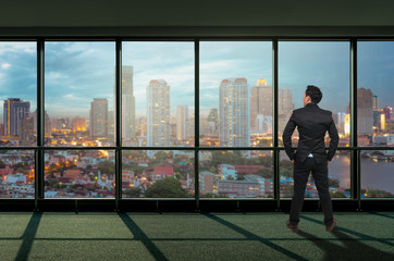 Back side of Businessman looking megalopolis through window, Business concept