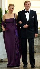 DUTCH CROWN PRINCE WILLEM-ALEXANDER AND HIS WIFE MAXIMA ARRIVE AT GALA DINNER AT EL PARDO.