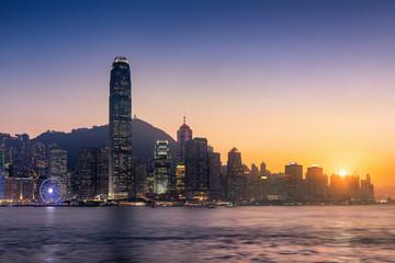 Hong Kong downtown on twilight scene.