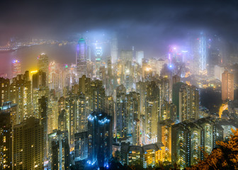 The peak, Hong Kong on night scene.