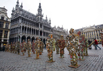 "Some of the 1000 ""Trash People"" sculptures made by German environmental artist Ha Schult are placed .."