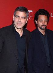 Clooney and Heslov arrive for The Weinstein Company 2006 Pre-Oscar party in West Hollywood