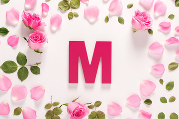 Letter M and Roses top view
