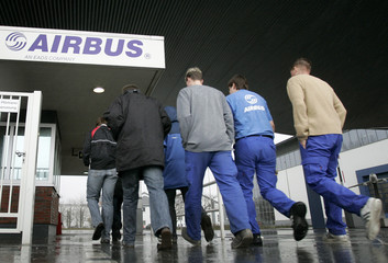 Employees enter the Airbus facility in Nordenham