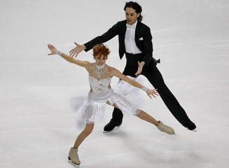 Russia's Jana Khokhlova and Sergei Novitski perform during their Ice Dancing Compulsory Dance at the European Figure Skating Championships in Helsinki