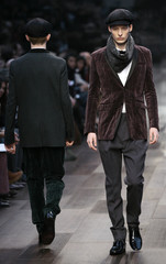 Models display creations as part of Burberry Fall/Winter 2009/10 men's collections during Milan Fashion Week.