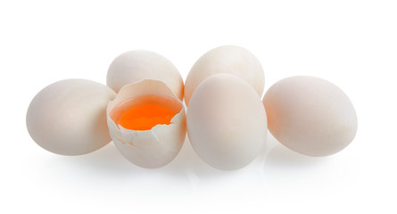 Duck eggs on white background