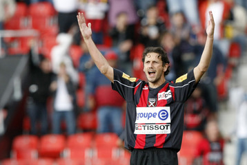 Neuchatel Xamax's Varela celebrates a goal during their Swiss Super League soccer match against FC Zurich in Neuchatel