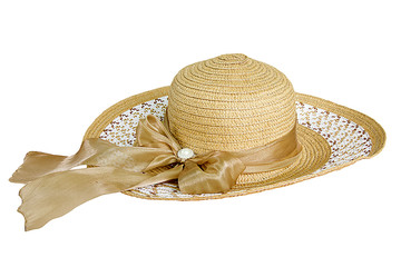 Pretty straw hat with ribbon on white background