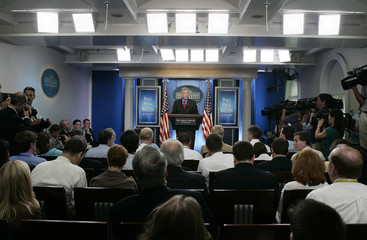 White House press secretary Snow speaks to the media at the first briefing in the new briefing room in Washington
