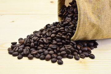 Coffee beans close-up in sack