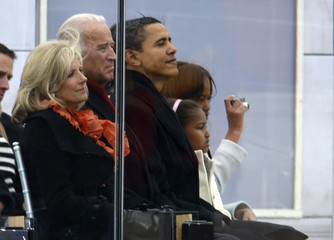"""U.S. Vice President-elect Biden and his wife Jill and President-elect Obama stand at start of the """"We Are One"""" Inaugural Celebration at Lincoln Memorial in Washington"""