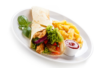Tortilla wrap with french fries