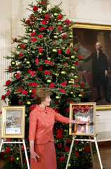 US first lady Bush gives the media a tour of the holiday decor at the White House