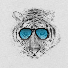 Wall Murals Hand drawn Sketch of animals Portrait of tiger drawn by hand in pencil in sunglasses