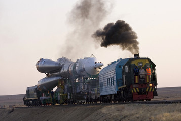The Soyuz TMA-16 spacecraft is transported to its launch pad at Baikonur cosmodrome