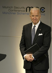 US Vice President Biden waits to make his speech during 45th Conference on Security Policy in Munich