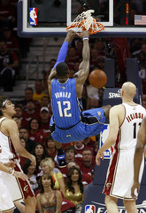 Magic forward Howard slam dunks against Cavaliers during Game 1 Eastern Conference final basketball playoff game in Cleveland