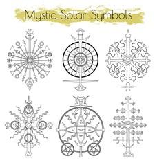 Hand drawn collection with mystic solar symbols. Hand drawn vector illustration