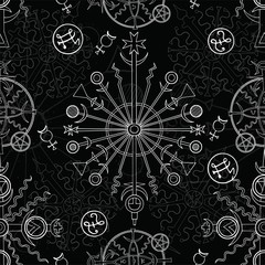 Seamless background with white mystic symbols on black. Hand drawn vector illustration