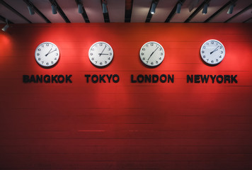 Wall Clock Time zones Around the world Travel concept