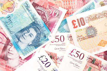 British Pound money bills of United Kingdom in Different value