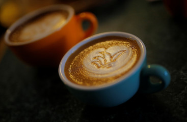 An image of the Sydney Opera House is drawn into the crema of a flat white coffee at Le Petit Tarte coffee shop in Sydney