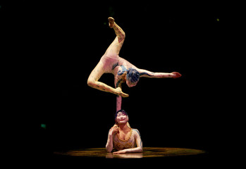 "Members of the Cirque du Soleil perform their show ""Alegria"" at the Royal Albert Hall in west London"
