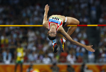 Hellebaut of Belgium competes during the women's high jump athletics final in the National Stadium at the Beijing 2008 Olympic Games