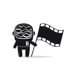 astronaut with screen head and film flag