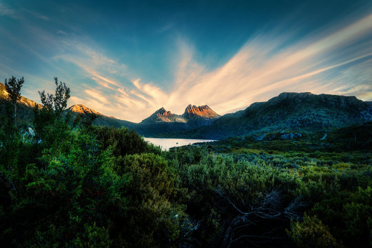 Clouds Streaking over Cradle Mountain in Late Afternoon