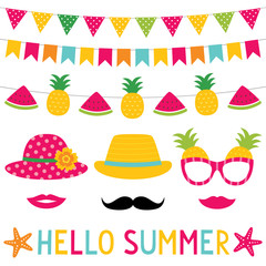 Summer party bunting decoration and photo booth props