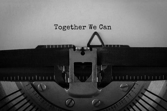 Text Together We Can typed on retro typewriter