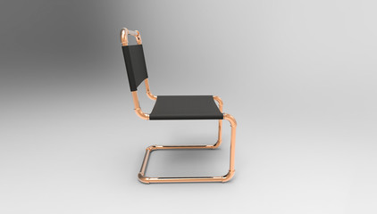 creative cantilever chair design made of piping parts 3d illustration
