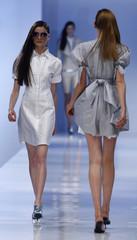 Models wear creations by Michalsky at the Fashionweek Berlin 2008 in Berlin