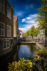 Beautiful canals and architecture in Gouda city in the Netherlands