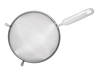Metal sieve with white plastic handle isolated on white background. Top view.
