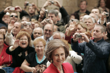 Spain's  Queen Sofia arrives for Easter Sunday mass at Palma de Mallorca's Cathedral.