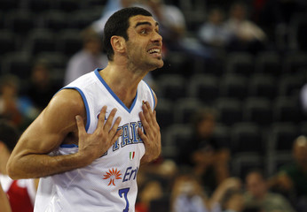 Italy's Soragna reacts during second round game at the European Basketball Championships in Madrid