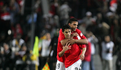Egypt's Ahmed Hassan celebrates his first goal against Congo during their African Nations Cup quarter-final soccer match in Cairo