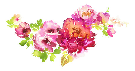 Bouquet of spring delicate watercolor flowers for wedding greeting card.