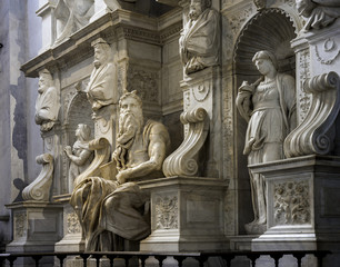 Marble group with statues of Moses, Michelangelo, St. Peter in Vincoli, Rome, Italy