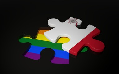 LGBT and Malta Flag like a puzzle piece.
