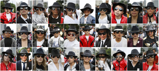 A combination picture shows Michael Jackson fans attending an event celebrating the late singer's 51st birthday at the Monument of the Revolution in Mexico City