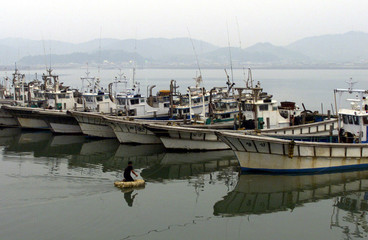 A SOUTH KOREAN FISHERMAN APPROACHES HIS BOAT IN YEONPYONGDO.