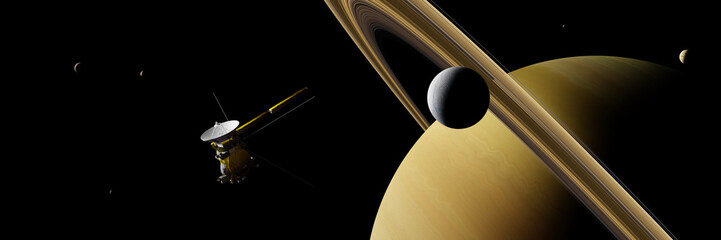 Saturn's moon Enceladus and spacecraft Cassini–Huygens in front of planet Saturn, rings and other moons, background banner Fototapete
