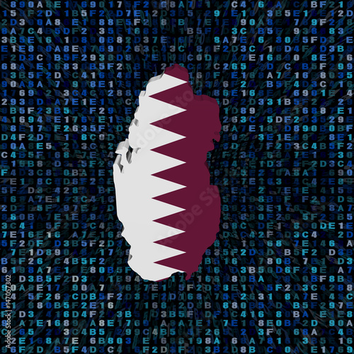 Qatar Map Flag On Hex Code Illustration Stock Photo And Royalty
