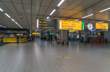 deserted arrivals hall at Schiphol airport, The Netherlands